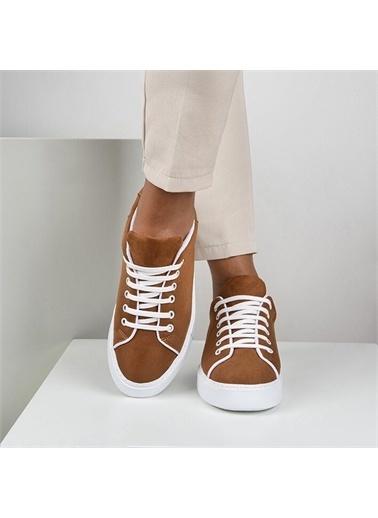 OKHU SHOES Kadın Süet Bağcıklı Günlük Sneaker Spor Ayakkabı Taba